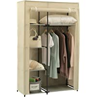 "Homebi Portable Clothes Closet Wardrobe Storage Organizer with Non-Woven Fabric and Hanging Rod,Quick and Easy to Assemble,41.73""W x 17.72"" D x 65.35""H"