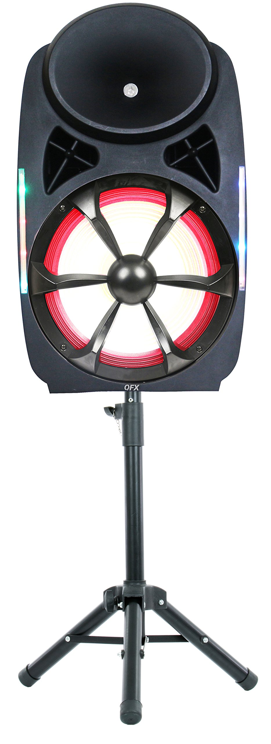 QFX SBX-1535 High Powered Pro Pa Speaker with Wireless Microphone and Stand