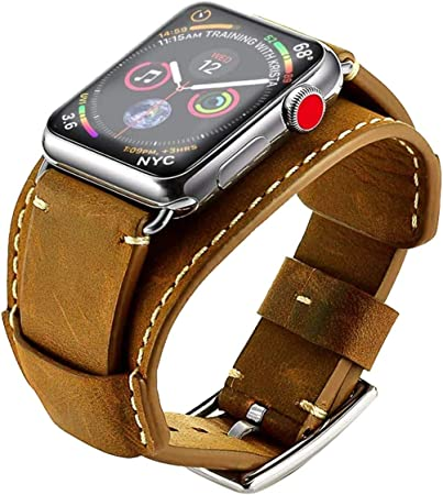 Aimtel Bracelet Compatible With Apple Watch Series 6 Se 5 4 44 Mm Bracelet Series 3 2 1 42 Mm Cuff Leather Strap Replacement Watch Strap Accessory For Iwatch Series 6 Se 5 4 3 2 1 Crazy House Brown Amazon De