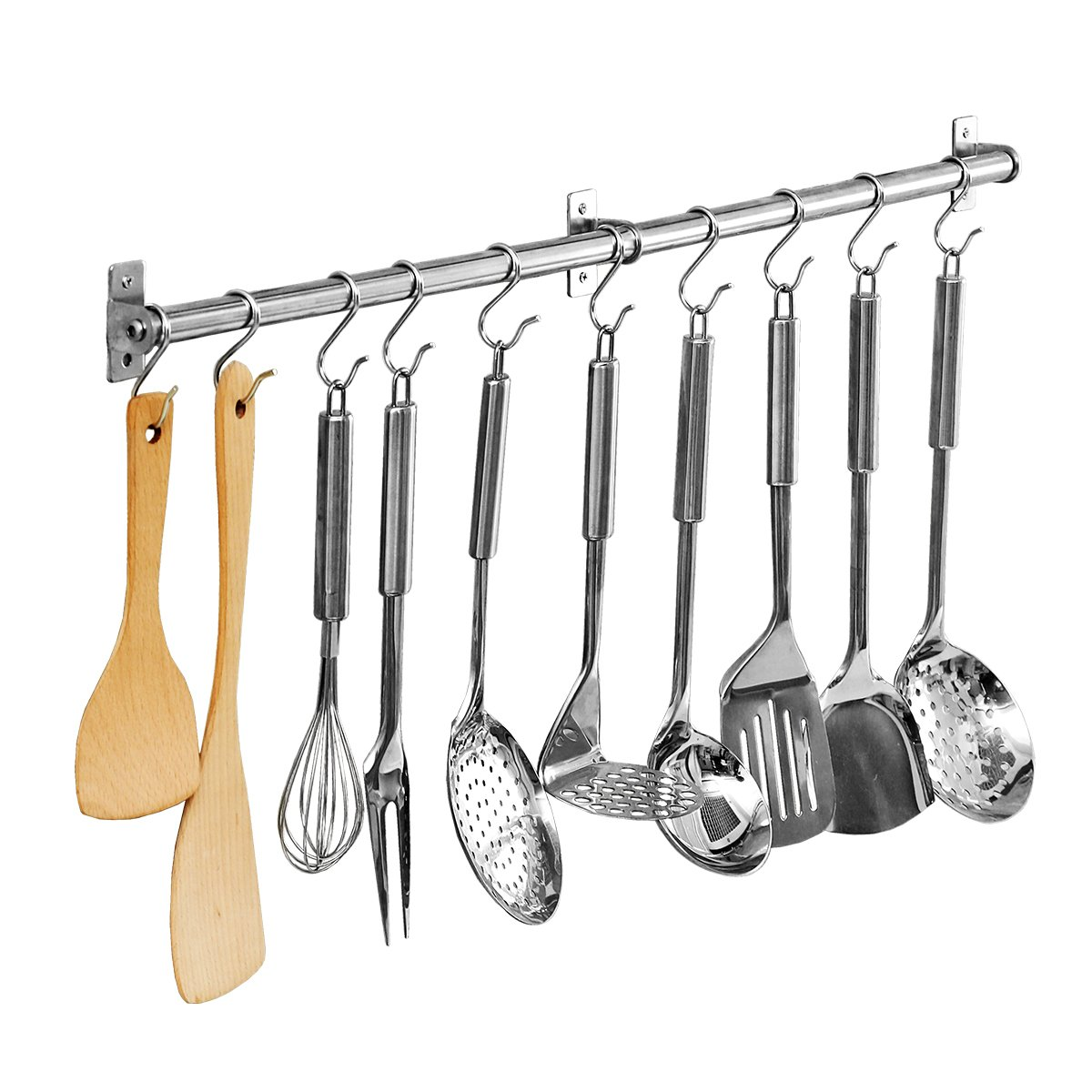 Creatwo Kitchen Rail with Hooks Wall Mounted Pot Pan Rack Organizer for Kitchen, Stainless Steel