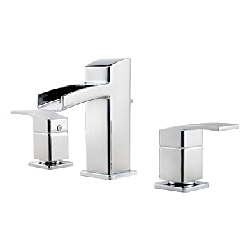 Pfister GT49DF0C Kenzo 2 Handle 8 Inch Widespread Waterfall Bathroom Faucet  In Polished Chrome Part 76