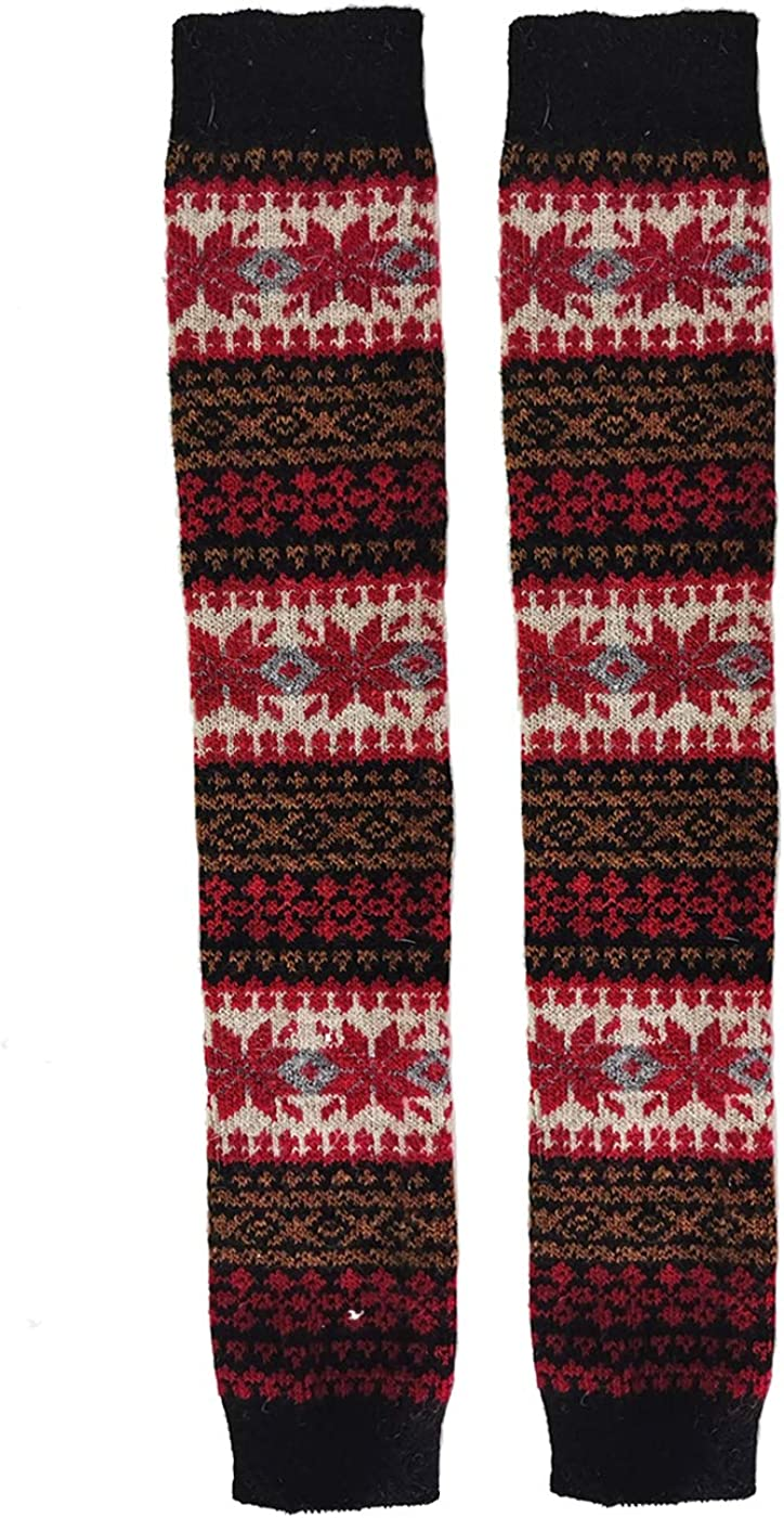 Womens Coloful Vintage Long Wool Leg Warmer Novelty Thermal Soft Cozy Boot Cuffs