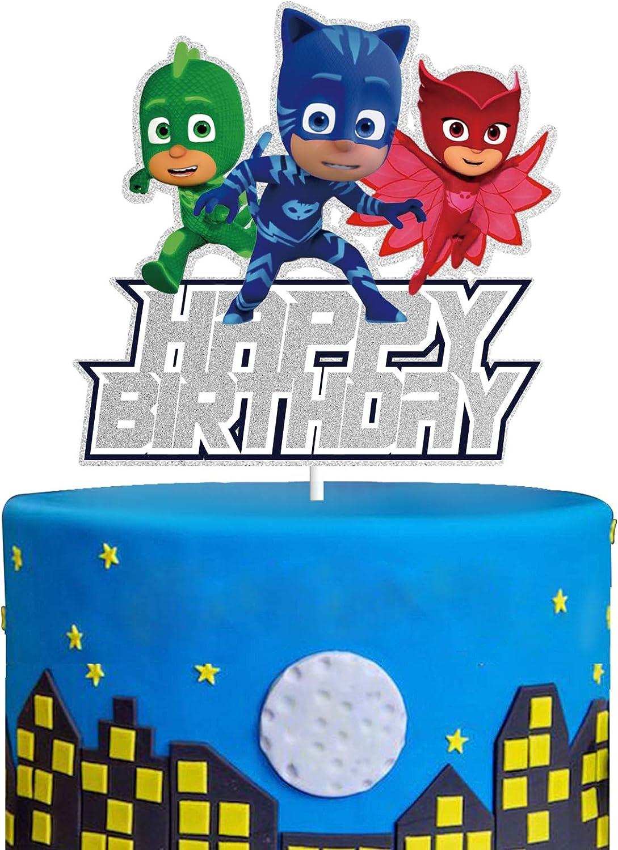 Happy Birthday Cake Topper Superhero Cartoon Theme Party Decorations Supplies for Kids Children