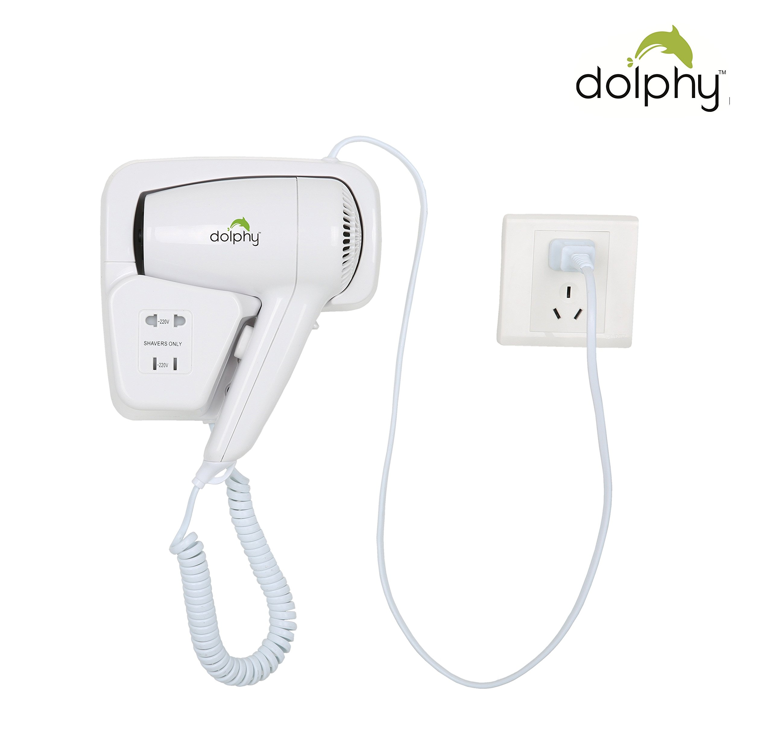Dolphy Professional Wall Mounted Hair Dryer (White, DOLPLUGHAIRDRYER) product image