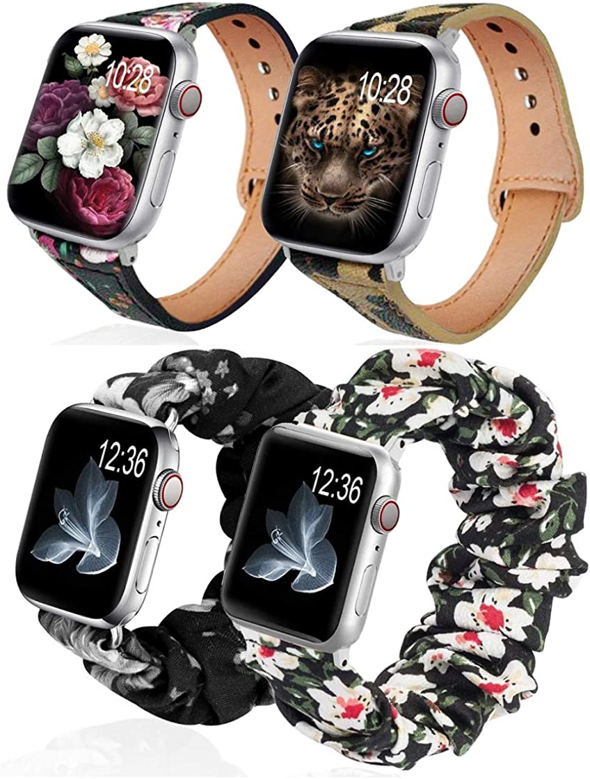 (4 Pack) G.P Bands Compatible With Apple Watch Band 40mm 38mm,Leopard Leather + Floral Cloth Soft Pattern Printed Fabric Wristband Bracelet Women Rose Gold IWatch Cute Elastic Scrunchy Bands 40mm Series 5 4 3 2 1