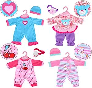 """4-Sets Doll Clothes Include Rompers Headband for 10""""-12""""-13"""" Dolls Like 10-inch Baby Dolls /12-inch Alive Baby Dolls New Born Baby Dolls"""