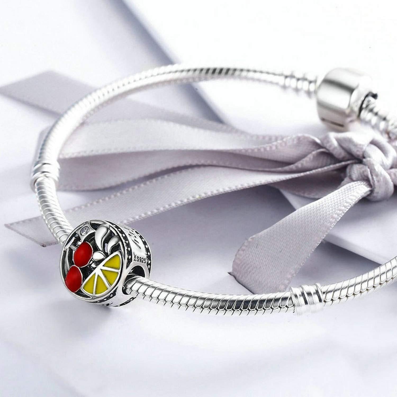 EverReena Summer Style Red Cherry Yellow Lemons Silver Beads Bracelets