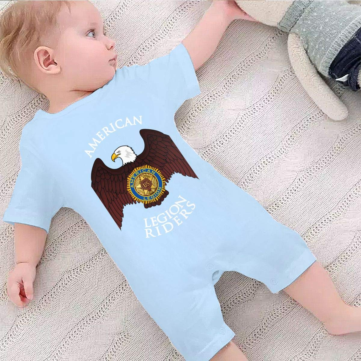 Baby Infant Boy Girl Short Sleeve American Legion Riders Jumpsuit Romper Pajamas Clothes Summer Outfits Black