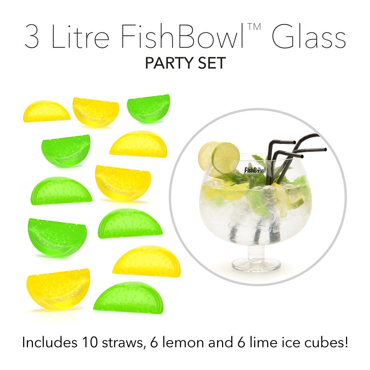 FishBowl Pecera Cristal Gin cóctel Compartir Bowl Set de Fiesta con pajitas y Cubitos de Hielo, Claro, 3 L: Amazon.es: Hogar