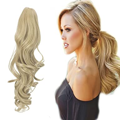 Amazon.com: FUT Womens Claw Ponytail Clip In Hair Extensions 18 ...