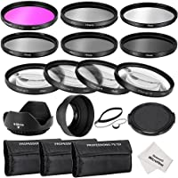 Neewer 58MM Complete Lens Filter Accessory Kit for CANON EOS REBEL 700D 650D 600D 550D 500D 450D 400D 350D 100D (T5i T4i T3i T2i T1i XSi XTi XT SL1), Kit includes:(1)Filter Kit (UV, CPL, FLD) + (1)Macro Close-up Filter Set (+1, +2, +4, +10) + (1)Altura Photo ND Neutral Density Filter Set (ND2, ND4, ND8) + (1)3-in-1 Collapsible Lens Hood + 」ィ1)Tulip Lens Hood + (1)Snap-on Front Lens Cap + (1)Cap Keeper Leash + (3)Filter Carrying Pouches + (1)Microfiber Cleaning Cloth