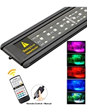 Uelfbaby 24/7 Automated Aquarium Light LED 16 Color Planted LED 1000 Lumen 7.5W Ultra-Thin Tropical Fish Aquatic LED Fish Tank Light with Controller (11.8''-19.7'')