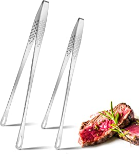 Patelai 2 Pieces Stainless Steel Grill Tongs Kitchen Food Tweezers for Cooking Small Oven Serving Tong Cooking Tongs BBQ Tongs for Fish, Steak, Salad, Grill, Barbecue, Buffet, 9.4 Inch and 11 Inch
