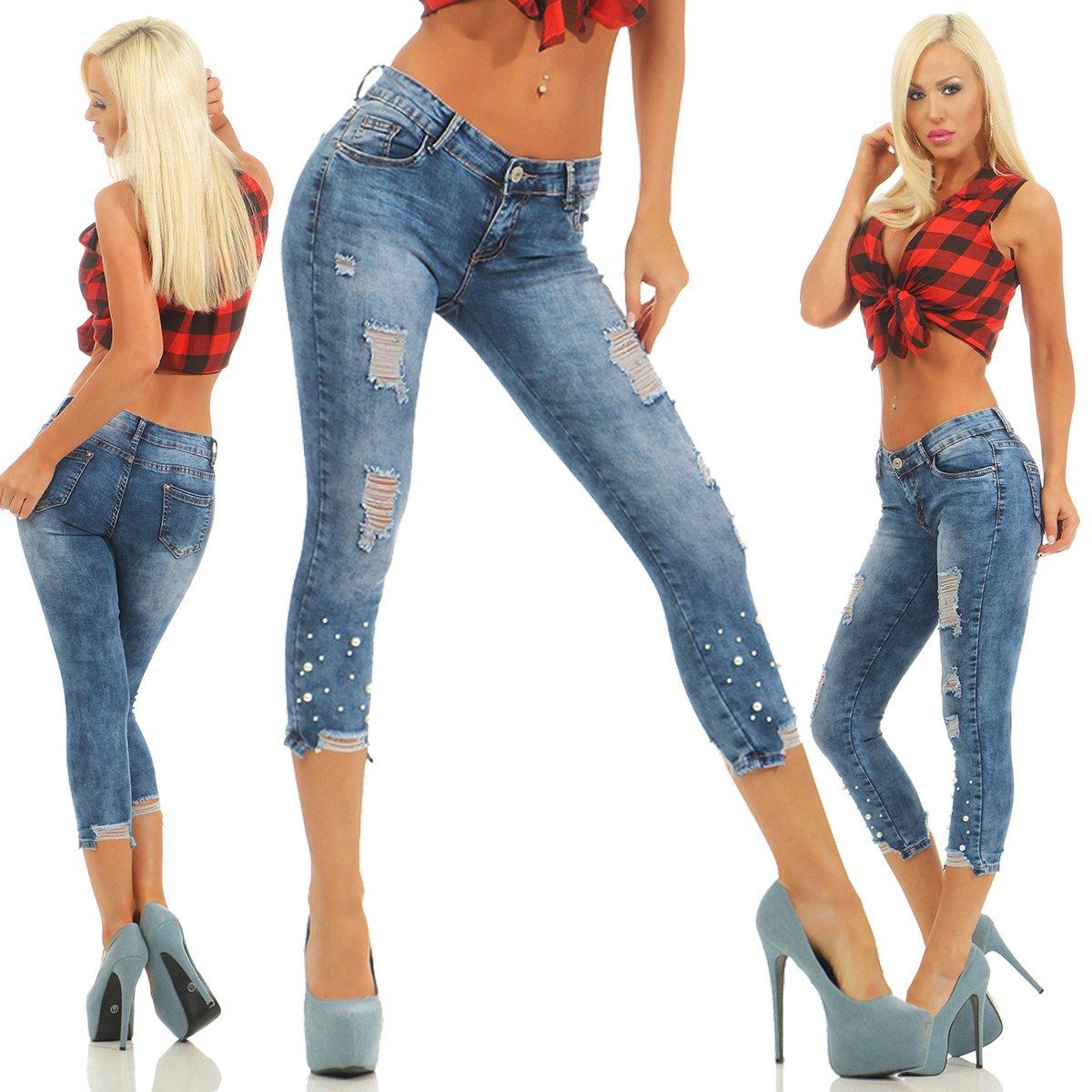 Damen 7//8 Capri 3//4 Jeans Bemuda High Waist Röhren Stretch Hose Sommer Blau