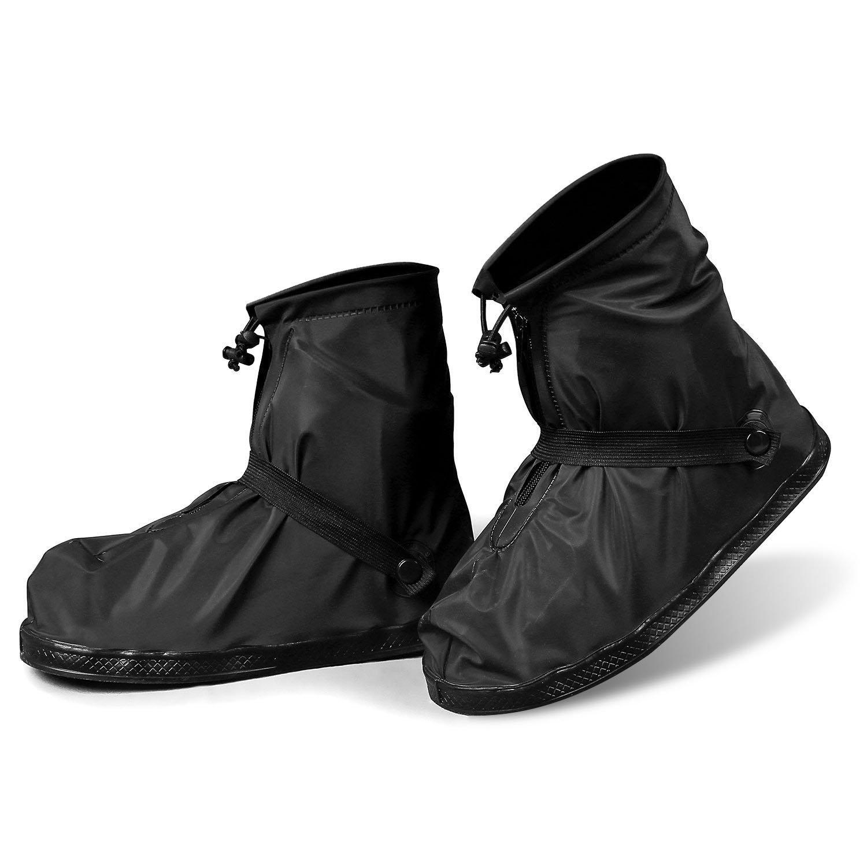 YMTECH Regenuuml;berschuhe Wasserdicht Schuhe 1 Paar, Outdoor Rutschfester Radsportschuhe Uuml;berschuhe  42 - 43 EU|Schwarz1