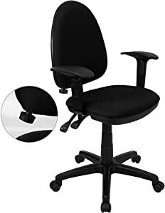Flash Furniture Mid-Back Black Fabric Multifunction Swivel Ergonomic Task Office Chair with Adjustable Lumbar Support & Arms