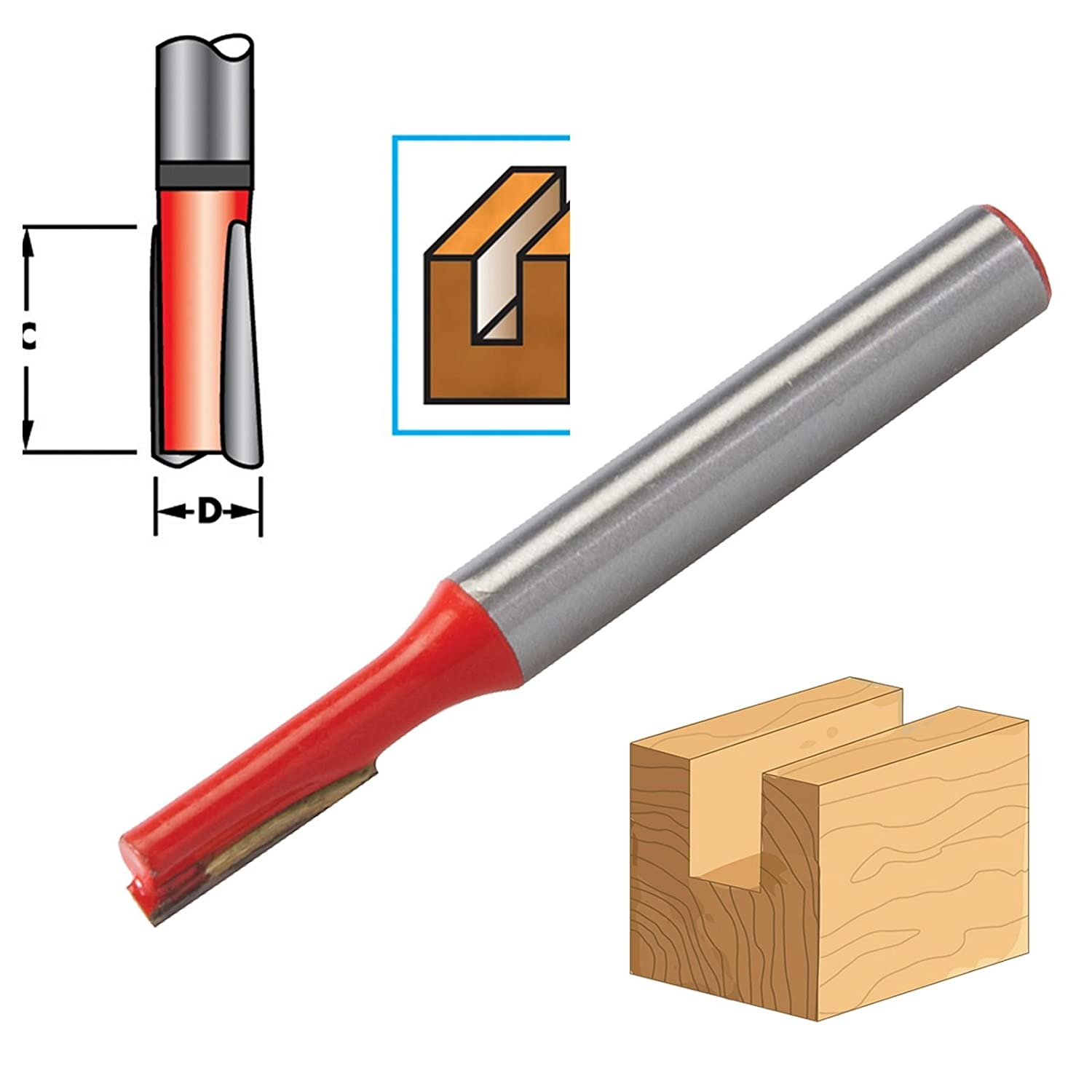 """1//4/"""" Shank Straight Imperial Cutter TCT Router Bits 3//4/"""" Diameter x 1/"""" Long DIY"""