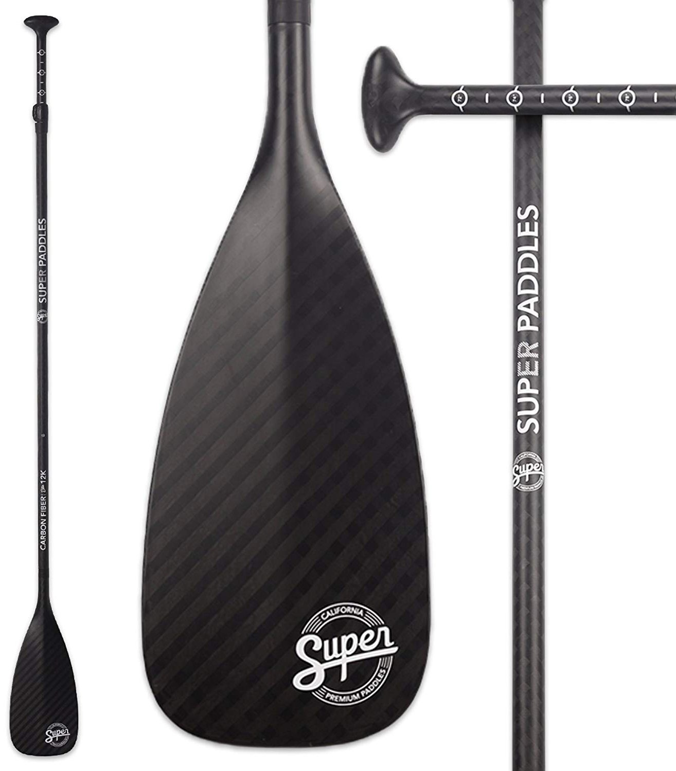 Super Paddles Pure 12K Carbon Fiber SUP Paddle - 3-Piece Adjustable Stand Up Paddle with Paddle Bag Carbon Fiber Series Elite 12K - Carbon Fiber Blade & Shaft by Super Paddles (Image #1)
