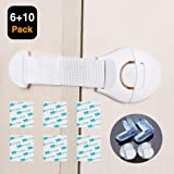 6 Pack Child Safety Locks,Baby Proof Cabinet Latches Reward 4 Pack Clear Corner Guards with 3M Strong Adhesive,No Tools,Easy to Install for Drawers, Appliances, Toilet Seat,Fridge,Oven
