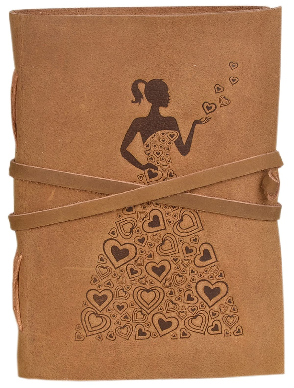 CAVALO – Be Unique Leather Diary Princess with Heart Embossed Diary Vintage Artist Sketchbook, Scrapbook, Drawing & Writing Diary with Leather Bound Brown 5 × 7 inch Unlined Paper (Camel Brown)