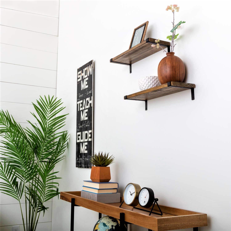 Under.Stated Shelves Wall Mounted, Designer Hanging Living Room Bathroom Bedroom Shelves. Rustic Brown Solid Wood, Black Metal Brackets, Floating Shelf Set of 2