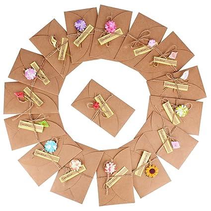 16x Sobres Tarjeta de Felicitación Kraft Marrones Vintage con Flores Secas (17,5x11cm) para Navidad Boda Regalo Cumpleaños Fiesta Año Nuevo