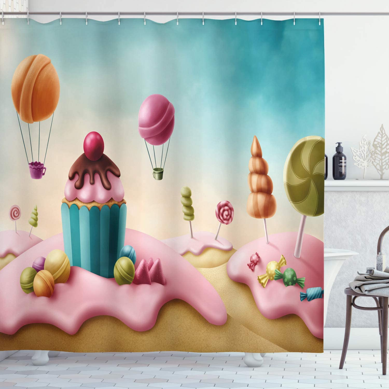 Ambesonne Fantasy Shower Curtain, Surreal Candyland Cupcake Bonbon Lollipops Food Delicious Sweets, Cloth Fabric Bathroom Decor Set with Hooks, 84