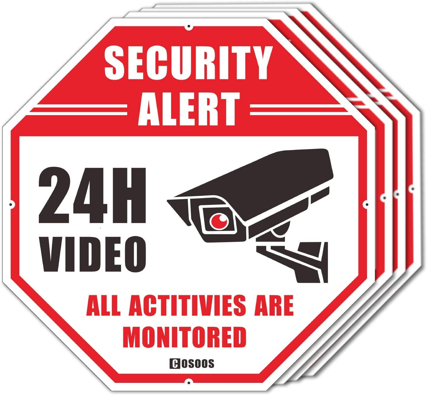"""4-Pack Video Surveillance Sign CCTV Security Alert, COSOOS Octagon 12""""x12"""" Rust Free Aluminum Reflective, Waterproof 24 Hour Security No Trespassing Warning Sign for Home Surveillance Camera System"""