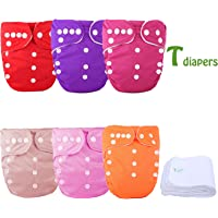 TDIAPERS One Size Baby Washable Reusable Pocket Cloth Diapers 6 Pack