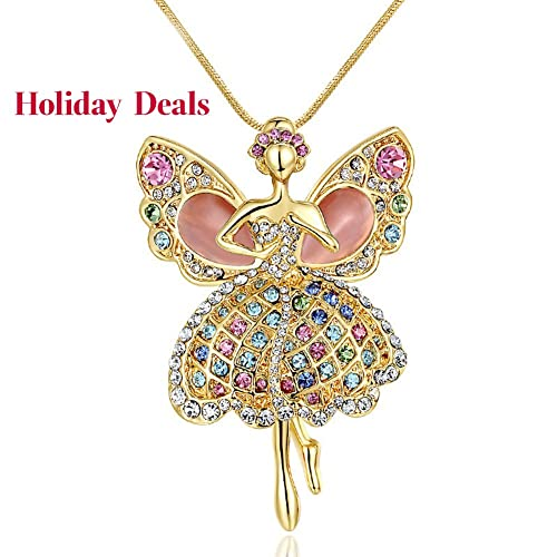 Daughter Necklace Multicolor Crystal Ballerina Dancer Opal Wings Angel Pendant Necklace for Children,Black Friday deals