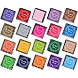 Elera 20 Colors Rainbow Craft Finger Ink pads for Rubber Stamps Card Making