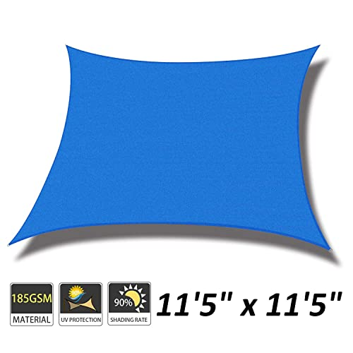Cool Area 11 5 x 11 5 Square Sun Shade Sail for Patio Garden Outdoor, UV Block Canopy Awning, Blue