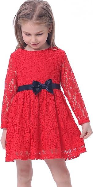 BONNY BILLY Vestiti Bambina Eleganti Casual Cotone Pizzo Abiti Ragazza con Fiocco 3-11 Anni