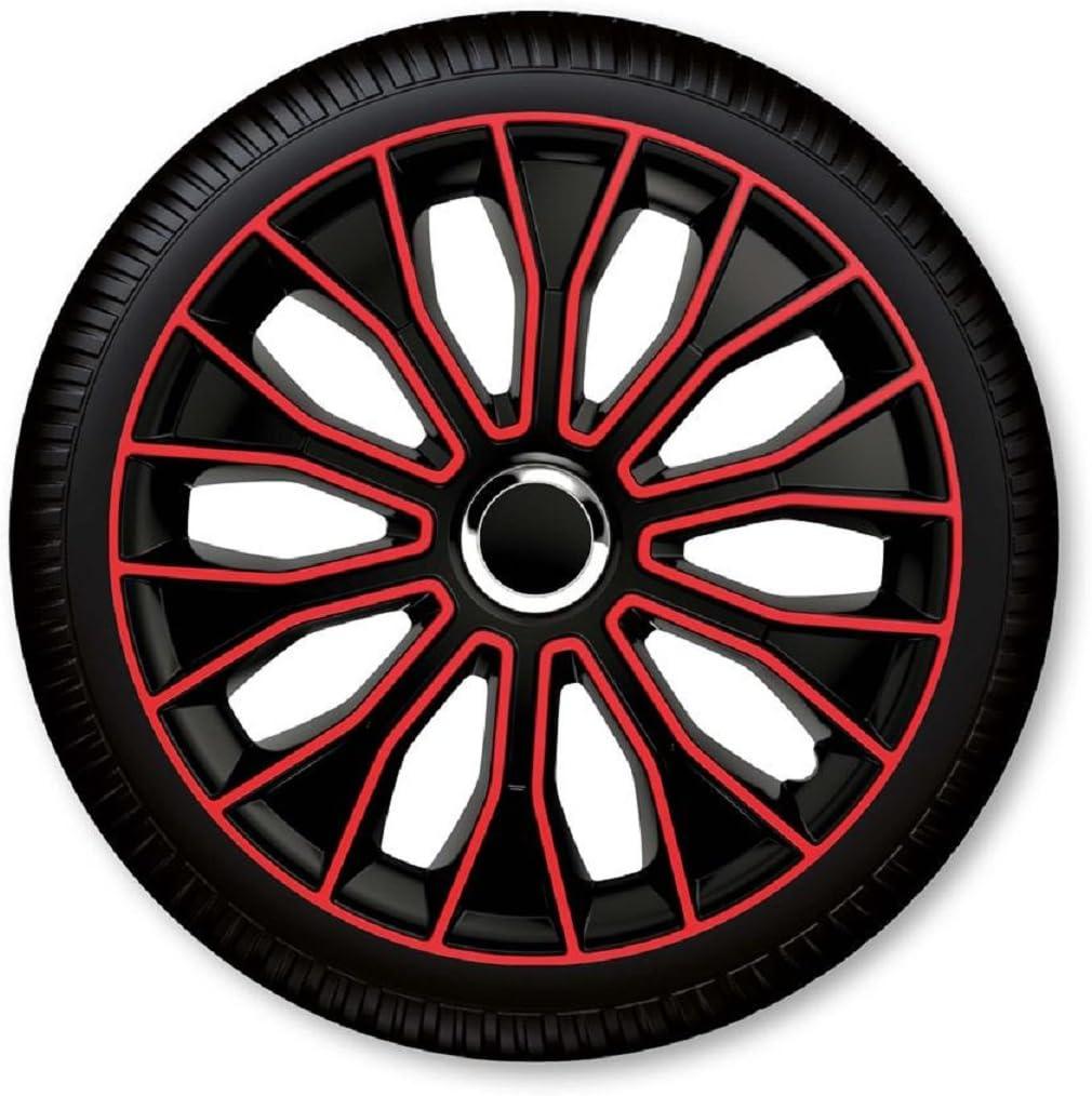15 Zoll Radzierblenden Radkappen Voltec Pro Black Red 15 Schwarz Rot Auto