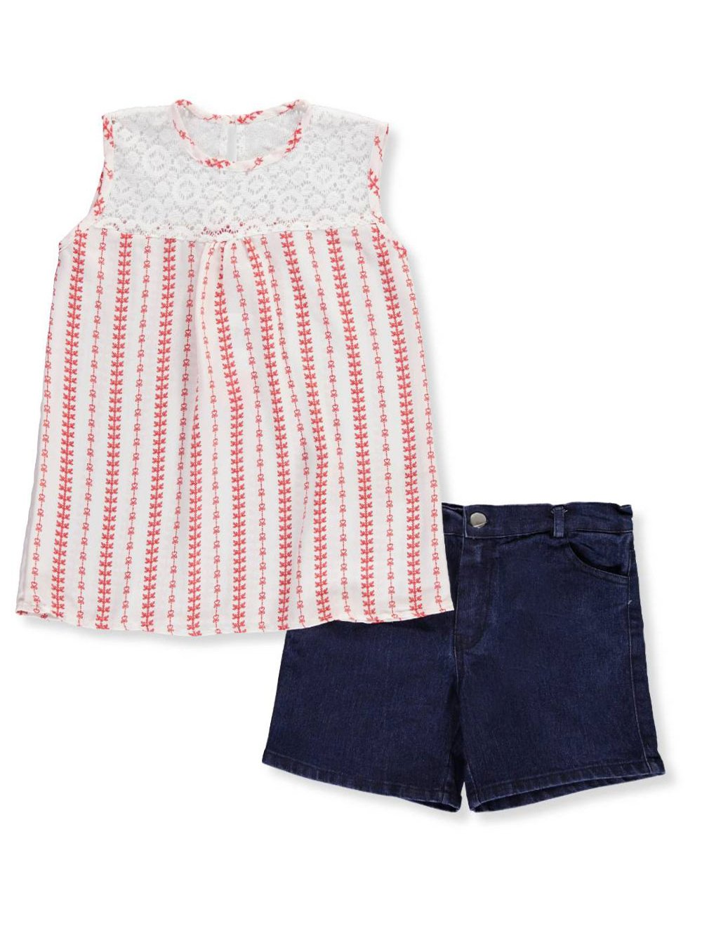 Girls Luv Pink Big Big Girls' 2-Piece Short Set Outfit - red/Multi, 14-16