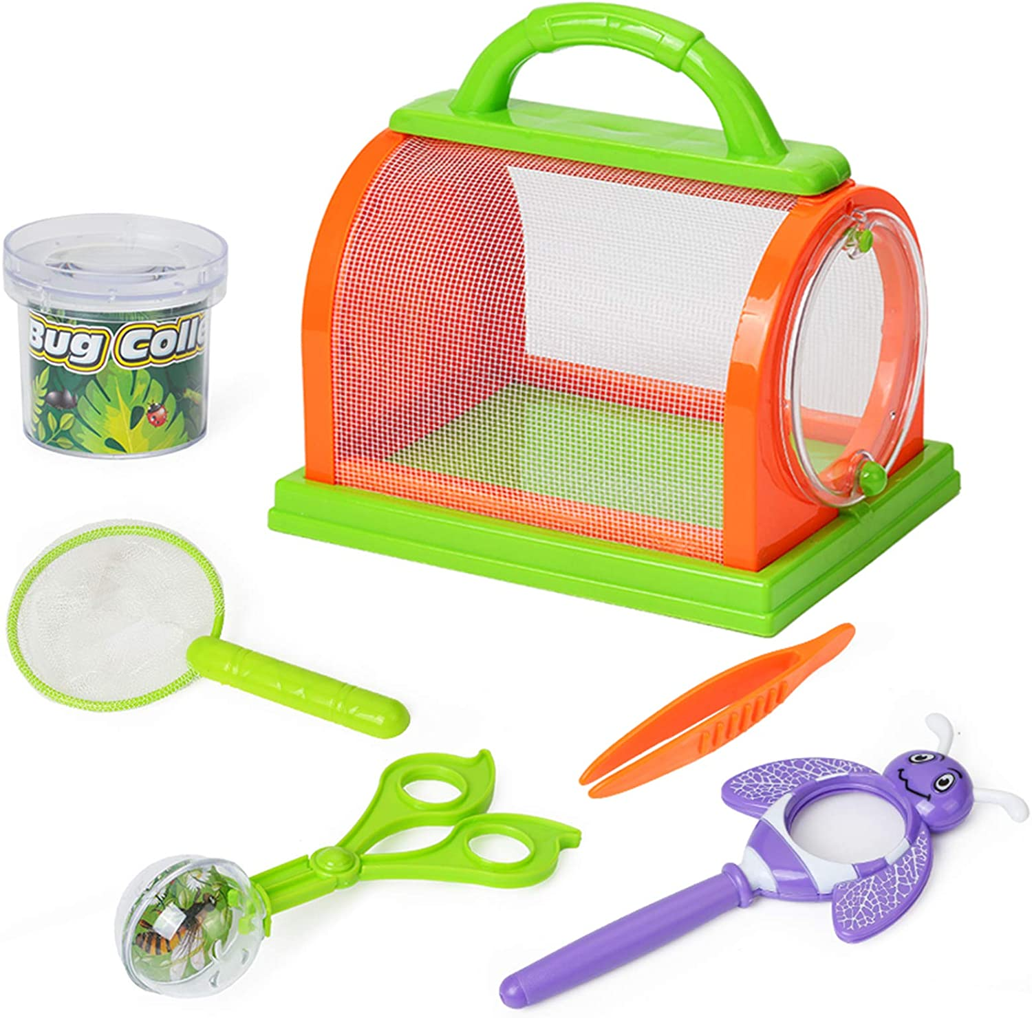 Kids Bug Catcher Kit for Outdoor Explorer Bug Collection, Magnifying Glass, Butterfly Net, Critter Case, Tweezers and Bug Observation Container for Boys and Girls Toddlers Science Educational Playset