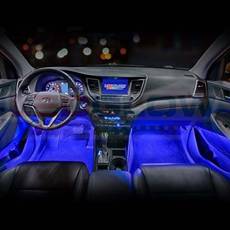 Ledglow 4pc Blue Led Interior Footwell Underdash Neon Lighting Kit For Cars Trucks 7 Unique Patterns Music Mode 8 Brightness Levels Auto