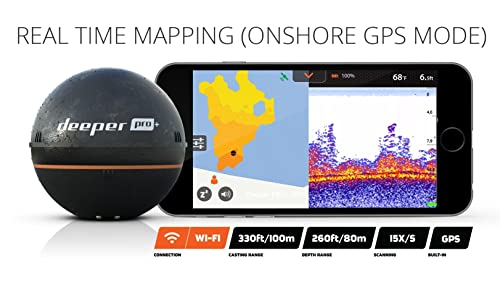 Real time mapping of Deeper Smart Sonar PRO+ - GPS Portable Wireless Wi-Fi Fish Finder for Shore and Ice Fishing