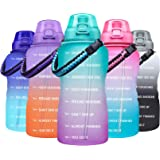 Giotto Large 1 Gallon Motivational Water Bottle with Paracord Handle & Removable Straw - Leakproof Tritan BPA Free Fitness Sp