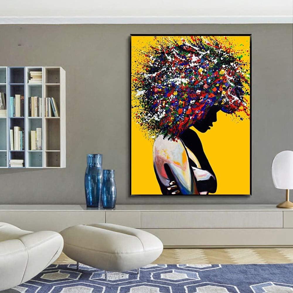 hetingyue DIY Pintar por n/úmeros Retrato de Color de Mujer Negra Pintura por n/úmeros Sin Marco Pintura Digital De Bricolaje por Coloraci/ón Digital sobre Lienzo Pintura Acr/ílica Caja combo30x45CM