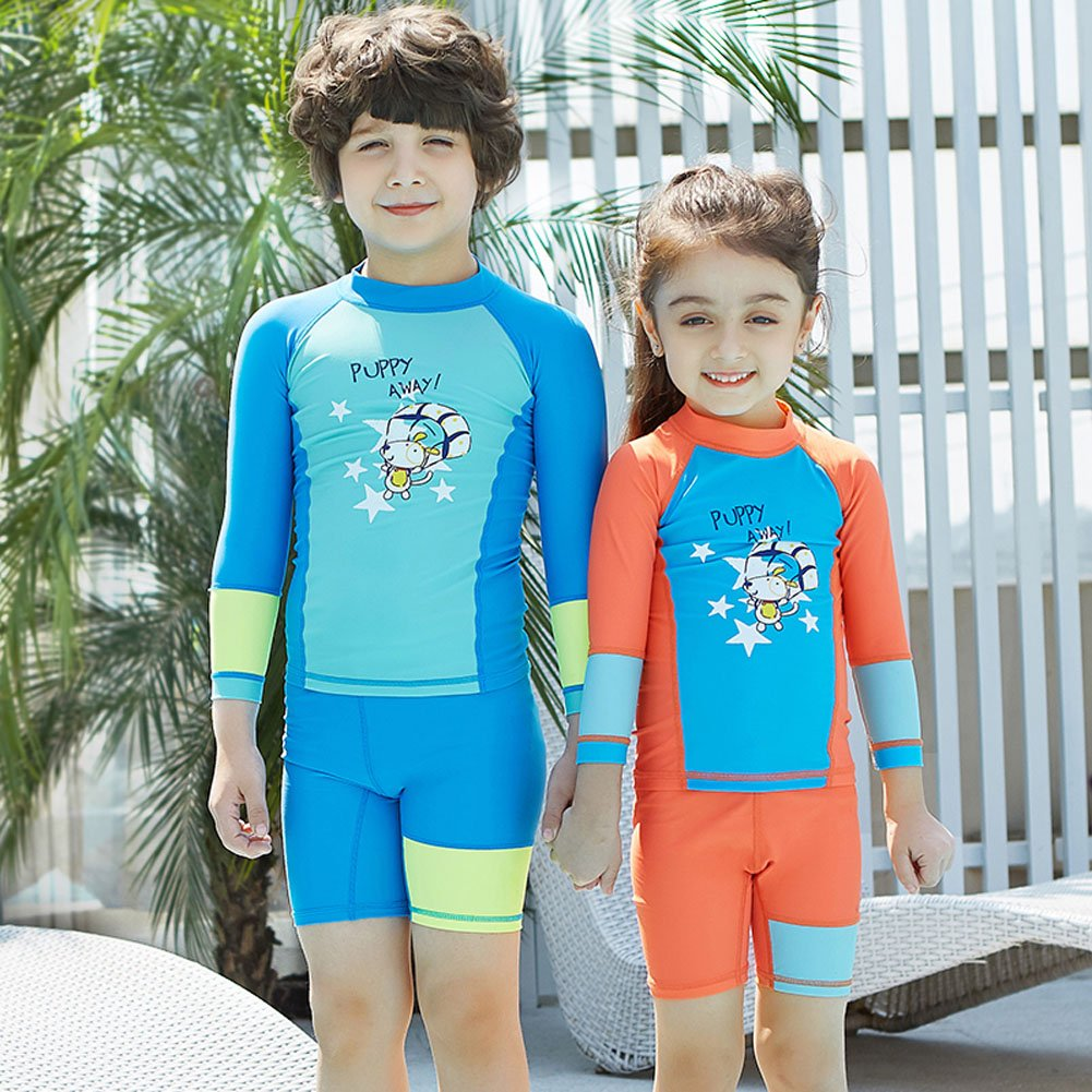 Best for All Little Girls Two Piece Long Sleeve UPF 50 Rash Guard Bikini Swimsuit Set