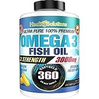 Ultra Pure Omega 3 Fish Oil (Triple Strength - 3000mg Per Serving) 360 Softgels High EPA and DHA Fatty Acids Supplement 3 x 1000 mg - 360 Pills