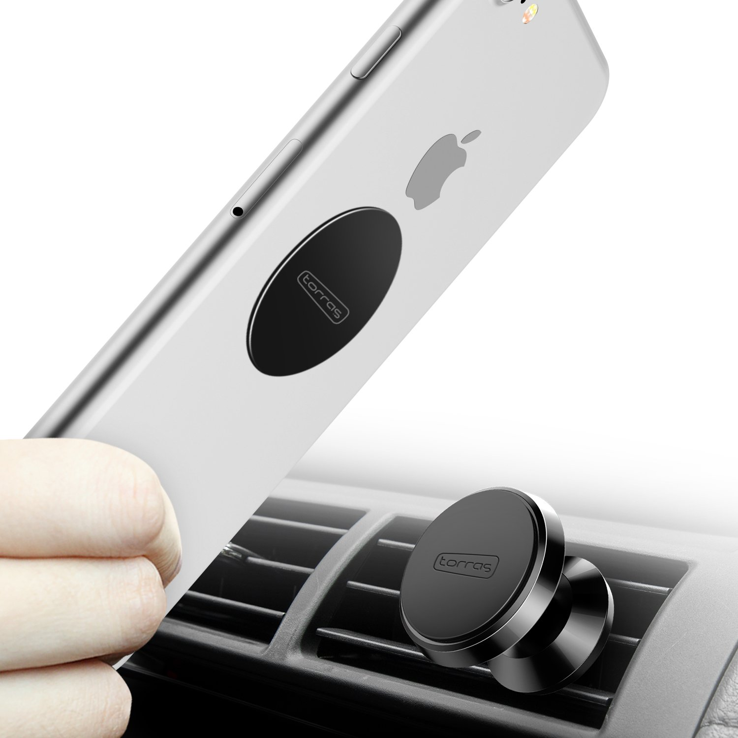 TORRAS Magnetic Car Mount Holder, 360° Rotation Air Vent Cell Phone Holder Car Cradle Mount Samsung Galaxy S9 / S9+ Plus / S8 / S8+ Plus / S7, iPhone X / 8/7 / 6, LG, GPS More - Black