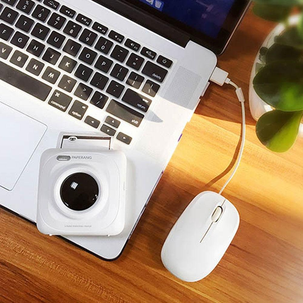 PAPERANG P1 White Mini Wireless Paper Photo Printer Portable Bluetooth Instant Mobile Printer for iPhone//iPad//Mac//Android Devices with Print Papers