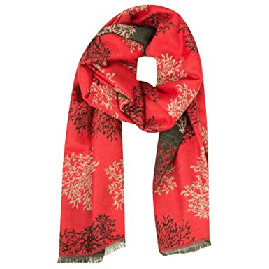 1d4cf50e734 Lua - Mulberry Trees Scarf, Scarlet, One: Amazon.co.uk: Clothing