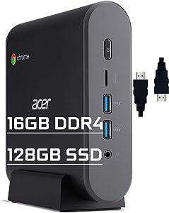 Acer Chromebox CXI3 Premium Mini Desktop Computer Intel Celeron 3867U Processors 16GB DDR4 128GB SSD Intel HD Graphics 610 Wifi5 Bluetooth USB-C Chrome OS + Delca HDMI Cable