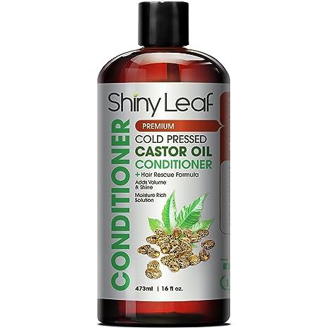 Shiny Leaf Acondicionador con aceite de ricino prensado en frío - fortalece las hebras de cabello