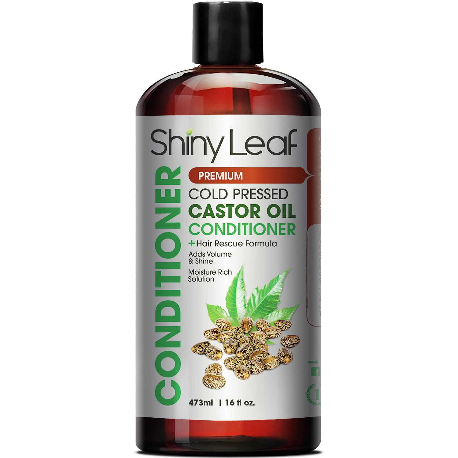 Shiny Leaf Cold Pressed Castor Oil Conditioner – Premium Hair Regrowth Conditioner with Cold Pressed Castor Oil, For All Hair Types, Moisturizes Hair, Keeps Hair Silky Soft and Smooth, 16 oz (473ml)