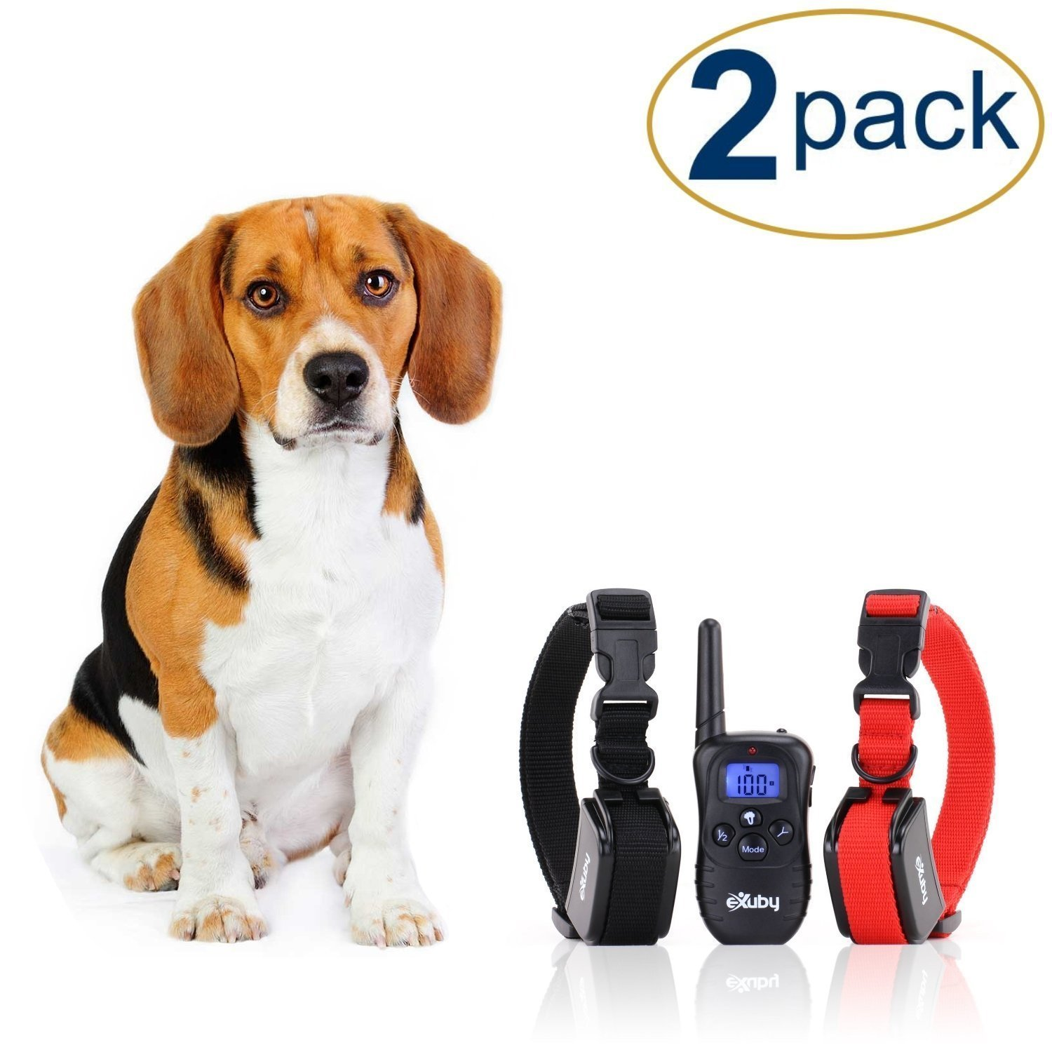 eXuby 2X Shock Collar for Small Dogs w/ 1 Remote & Training Dog Clicker - 3 Modes (Sound, Vibration & Shock) with Rechargeable Batteries - Fast Results by eXuby