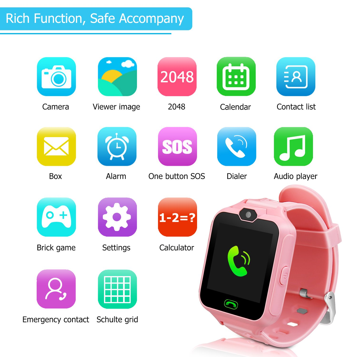 Kids Smart Watch Phone,Unlocked Waterproof Smart Phone Watch for Girls Boys with Camera Games Touchscreen,Children SOS Cell Phone Watch with SIM and SD Slot,Perfect Holiday Birthday Gifts(Pink) by MIMLI (Image #7)